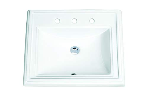 MSCBDP-2318-3W 23-in x 18-1/4-in White Rectangular Porcelain Drop-In Top Mount Bathroom Sink