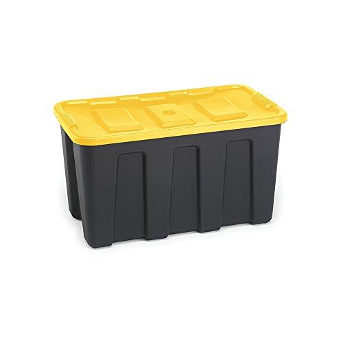 (Homz 34 Gallon Durabilt LLDPE Heavy Duty Storage Container, Black Base, Yellow Lid, 4-Pack)