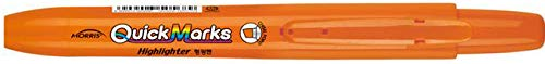 Morris Pen Corporation Quick Marks Retractable Highlighter, 12 Fluorescent Highlighters, 4.0mm Chisel Point, Orange Color, DZ (MRH-101-O)