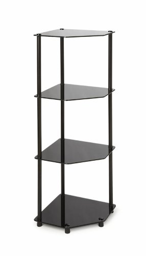 Review Convenience Concepts Designs2Go Midnight Classic 4-Tier Glass Corner Shelf, Black By Convenience Concepts by Convenience Concepts