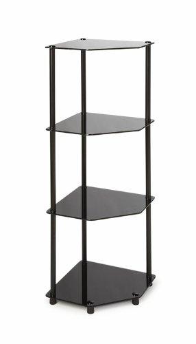 Convenience Concepts Designs2Go Midnight Classic 4-Tier Glass Corner Shelf, Black - Steel Bookcase Glass