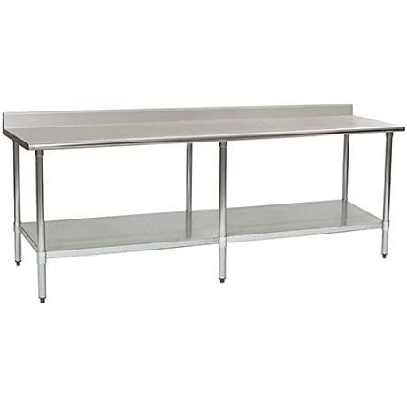 Eagle T3096SB BS Stainless Steel Work Table With Backsplash Stainless Steel Shelf Base 30 X 96 X 30
