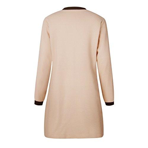 Lunghe Plush Jacket Giacca a Trench Maniche Spessore lungo Felpe Top Giubbotto Coat Sweatshirt Albicocca Caldo Fabric Overcoat Montgomery Cappotto Invernale 6wOXIqxx