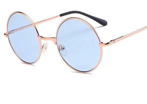 Round Sunglasses Vintage Metal Frame Sun Glasses for Ladies Shades Pink Tinted Eyewear ()
