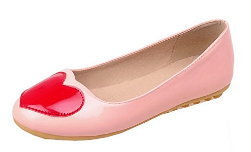 Odomolor Women's Round-Toe Low-Heels Soft Material Assorted Color Pumps-Shoes Pink