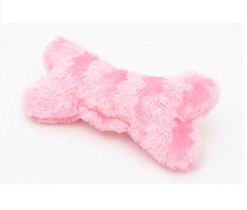 (Stock Show 1Pc 7.8 Inch Funny Plush Stripe Bone Shape Pet Fetch/Chew/Play Squeak Sound Toy Tooth Cleaning Stuffed Molar Chew Tools for Small Medium Dog/Puppy/Pup/Cat/Kitty, Pink)