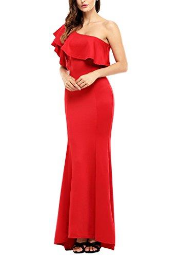 Da Spalla Sera Lungo Balza Abito Una Rossa Sidefeel Donne Delle Elegante Sirena qFtZ1I