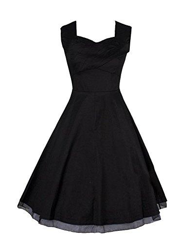 Moollyfox Mujeres De 1950 Elegante Estilo Vintage Vestido De La Impresión Negro