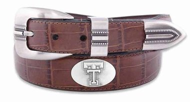 ZEP-PRO NCAA Texas Tech Red Raiders Men's Crocodile Leather Concho Tapered Tip Belt, Tan, 46