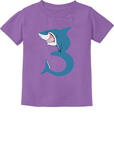 TeeStars - 3rd Birthday Shark Party Gift for 3 Year Old Toddler Kids T-Shirt 3T Lavender