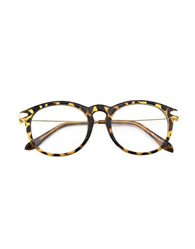 a3b95ac021f CGID CN88 Fashion Keyhole Metal Temple Oval Horn Rimmed Clear Lens Glasses