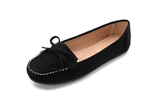 Mlia Lady Womens Casual Slip On Loafer Moccasins Flats Driving & Walking Shoes Zoe Black/Suede 8.0