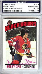 Bobby Orr Signed 1976 Topps Trading Card #213 Chicago Blackhawks - PSA/DNA Authentication - NHL Hockey Cards ()