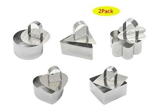 Small Food Mould for Pastry Cake Mousse and Pancake, Stainless Steel Cake Mousse Mold with Pusher,3.15in Diameter,10 Sets Rings with Press (Two of them are flower, square, heart, round, triangle) ()