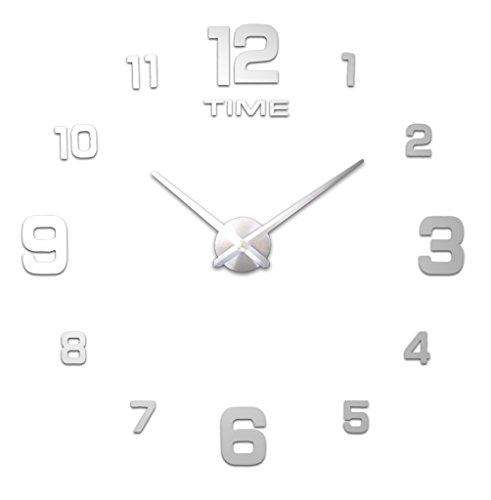HOME IMPRESSION (54 Arten) am reichlichsten Stile große Wanduhr, 60-130cm Durchmesser Große dekorative Wanduhren Home Decor DIY Uhren Wohnzimmer (A B 1 Most Popular, #2 Silver dial, silver specular)