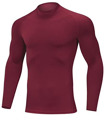 SILKWORLD Men's 3 Pack Compression Shirt Dry Fit Long-Sleeved Sports Baselayer (SW82_1 Piece: Red, X-Large (Fit Chest 36.5