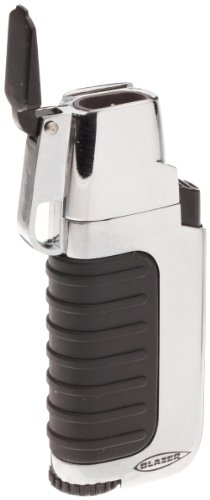 Blazer Venture Butane Refillable  Torch Lighter, Silver Silver Butane Torch Lighter