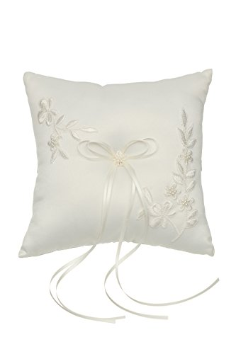 SAMKY Venus Jewelry Pearl Embroided Flower Leaves Wedding Ring Bearer Pillow 7 Inch x 7 Inch - Ivory RP010I by SAMKY