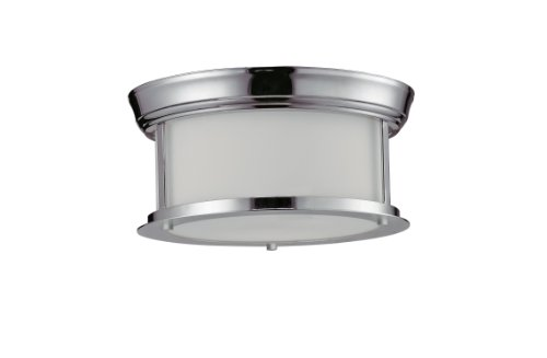 Z-Lite 2003F10-CH Sonna Two Light Ceiling, Steel Frame, Chrome Finish and Matte Opal Shade of Glass Material by Z-Lite
