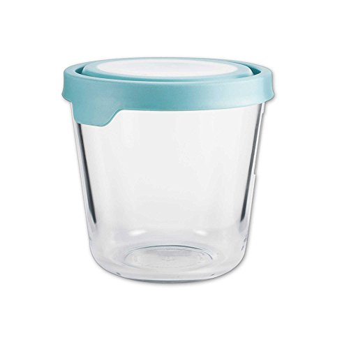 Round Kitchen Storage Container with Mineral Blue TrueSeal Lid ()