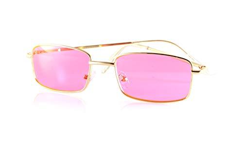 FBL Minimalist Medium Rectangular Color Tinted Smoke Spring Hinge Sunglasses A117 (Gold/Neon Pink) -
