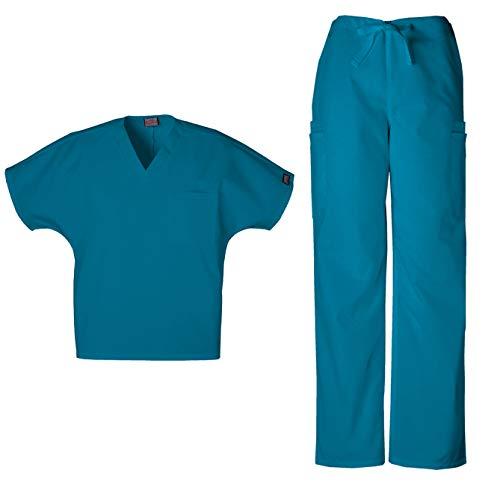 Cherokee Workwear Men's Dental/Medical Uniform Scrub Set - 4777 V-Neck Scrub Top & 4000 Drawstring Cargo Pants (Caribbean Blue - Medium/Medium)