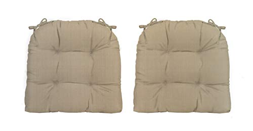 RSH Décor Indoor ~ Outdoor Sunbrella Tufted Wicker - Set of 2 ~ U-Shaped Chair Cushions with Ties ~ Choose Color (Linen Antique - Linen Antique Beige