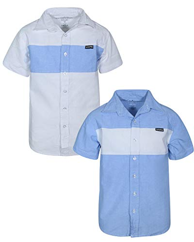 - U.S. Polo Assn. Boy\\\'s Short Sleeve Woven Shirt (2 Pack) Blue/White Piecing, Size 10/12'