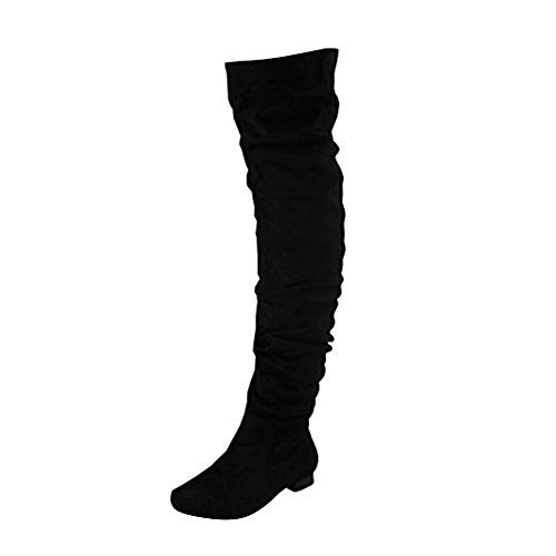 Womens Ladies Thigh High Over The Knee Low Heel Flat Lace Up Boots Shoes Size 3-8 Black