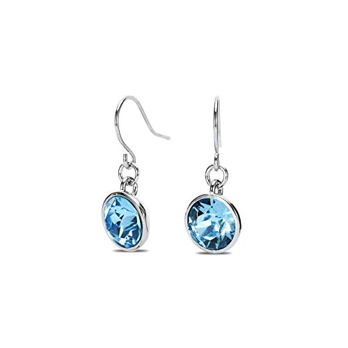 Blue Crystal Dangle Drop Earrings Silver-Tone, Made with Swarovski Crystals Aquamarine 10MM Solitaire, Hypoallergenic Fashion Jewelry for Women, Gift Pouch Included -