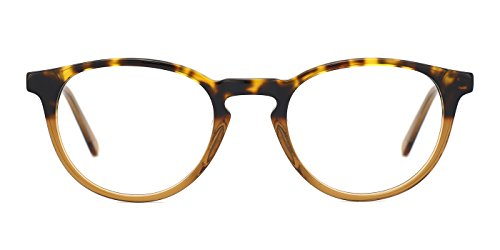 TIJN Retro Women Horn Rimmed Round Eyeglasses Non Prescription Glasses Frames