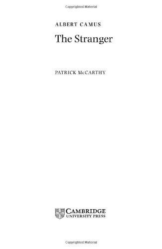 Camus: The Stranger (Landmarks of World Literature (New))