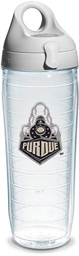 (Tervis Purdue University Train Emblem Individual Water Bottle with Gray Lid, 24 oz, Clear - 1204038)