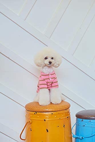 MIMINKO PET CLOTHES FOR SMALL AND MEDIUM DOGS_PINK STRIPE T-SHIRTS WITH HEART SHAPED LOGO (X-LARGE)