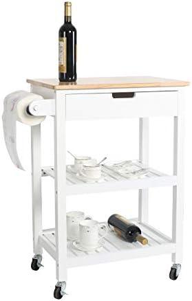 eclife Kitchen Islands Cart Rolling Kitchen Cart White Drawer Storage W/Wheel