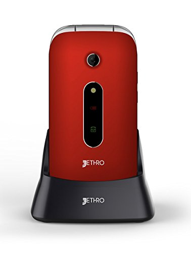 """Jethro [SC330v2] [Red] 3G Unlocked Flip Senior & Kids Cell Phone, FCC/IC Certified, SOS Emergency Button, 2.4"""" Large LCD with Large Keypad. [Updated Firmware] [Red Color]"""