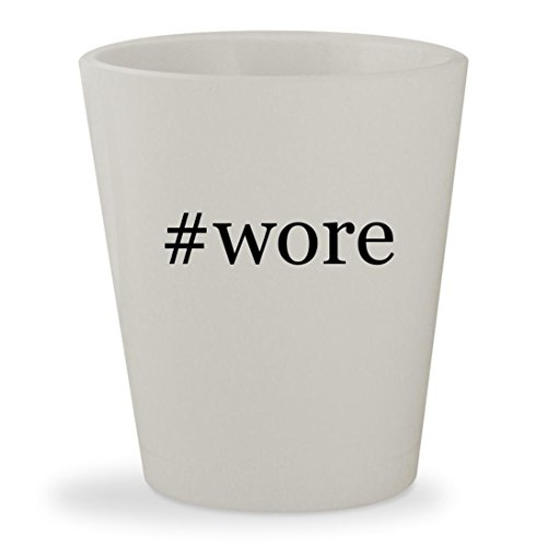 #wore - White Hashtag Ceramic 1.5oz Shot Glass (Tie Spy Leather)