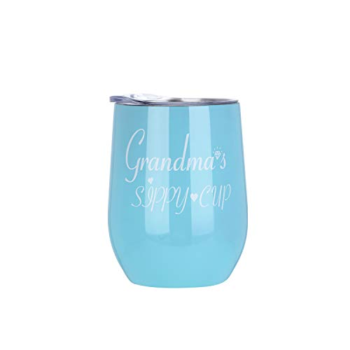 - Amzyinghao Insulated Stemless Wine Glass for Grandma, Novelty Wine Tumbler with Lid and Straw | Unbreakable Personalized Wine Cup As A Gift Prefect For Home, Party, Outdoor Etc