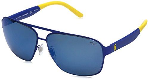 Polo Ralph Lauren Men's Metal Man Square Sunglasses, Rubber Royal Blue, 62 - Ralph Blue Sunglasses Lauren