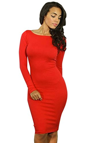 Simplicity Bandage Cocktail Midi Dress with Long Sleeve/Scoop Neck, Red, S