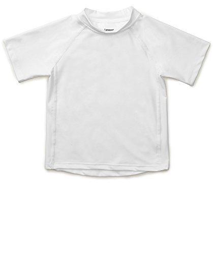 Baby Boys Girls Rash Guard Sun Protected UPF + 50 Kids & Toddler Swim Shirt (White, Size 4 Toddler) ()