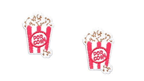2 small pieces POPCORN Iron On Patch Fabric Applique Food Motif Children Decal 2.3 x 1.6 inches (5.8 x 4.2 cm) ()