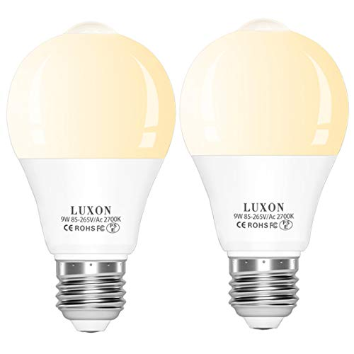 (Motion Sensor Light Bulb Dusk to Dawn Built-in PIR Motion Detector Bulbs 9W 2700K Warm White Auto On/Off E26 Base for Stair Porch Garage 2-Pack by LUXON)
