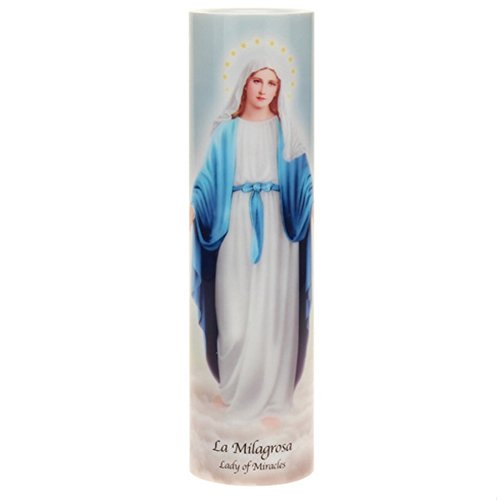 Sister Candle Prayer - Lady of Miracles, LED Flameless Devotion Prayer Candle, 4 Hour Timer, Religious Gift