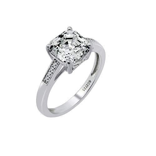 - Diamonbliss Sterling Silver Cubic Zirconia Asscher Cut Solitare Band Ring- Size 7