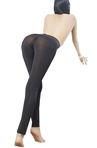 FBA Womens Semi See-Through Sheer Ice Silk Open Zip Crotch Leggings Pants Black (Slacks Pants Silk)
