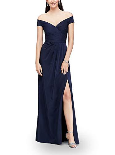 Chowsir Women Sexy Long Formal Bridesmaid Evening Dress Tribute Silk Slim Fit Split (Medium, Navy Blue) (Long Dress Silk)