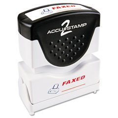 (- Accustamp2 Shutter Stamp with Microban, Red/Blue, FAXED, 1 5/8 x 1/2)
