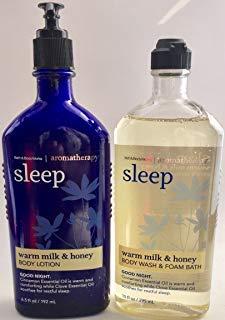 Bath & Body Works Aromatherapy Wash & Foam Bath Warm Milk & Honey Sleep 10 FL OZ & Aromatherapy Lotion Warm Milk & Honey Sleep 6.5 FL OZ