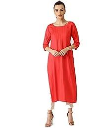 3cafdb94378 Voguedrift Coral Solid Indian Pakistani Kurtis Ethnic Kurti Women Dress